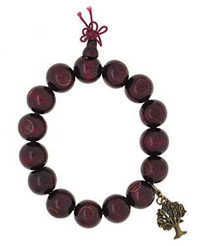 Mandala Crafts Red Wood Carved Prayer Beads Wrist Mala Bracelet with Removable Charm (Tree of Life)