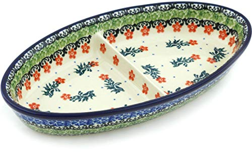 (Polish Pottery 9-inch Divided Dish made by Ceramika Artystyczna (Southern Belles Theme) + Certificate of Authenticity)