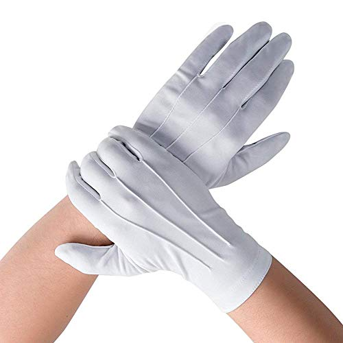 DH White Cotton Gloves, Formal Tuxedo Honor Guard Parade Gloves -12 Pairs Pack -