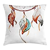 Ambesonne Feather Throw Pillow Cushion Cover, Watercolor Dream Catcher Native American Inspirations Traditional, Decorative Square Accent Pillow Case, 20 X 20 Inches, Burnt Sienna Seafoam Grey