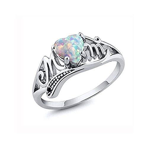 JSPOYOU Women Love Mum Diamond Ring Jewelry Best Gift for Mother Party Wedding Band Rings (Multicolor 9) from JSPOYOU