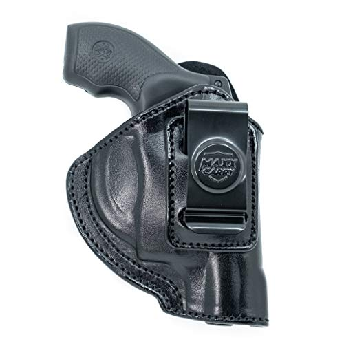 Cardini Leather USA - Zorro Series Holster - Right Handed - Black Leather - For Ruger LCR 38 Special - Concealed Carry IWB with Clip