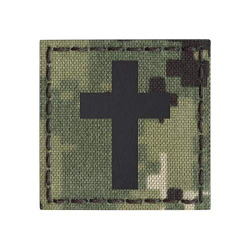IR AOR2 NWU Type III Christian Cross Jesus Christ 2x2 Crucifix Faith Religion God Infrared Tactical Morale Hook&Loop Patch