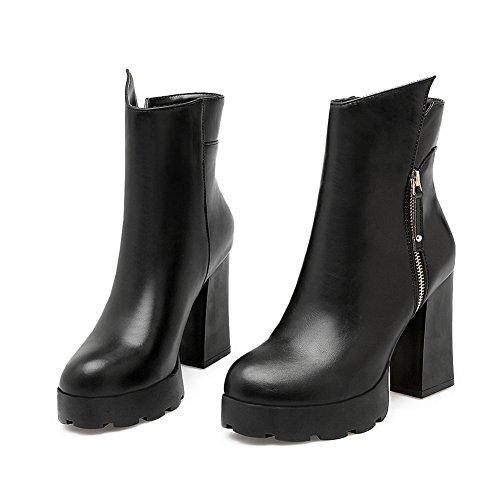 Heels Balamasa Black Boots Imitated Leather Chunky Womens Platform Zipper 11qBfwS