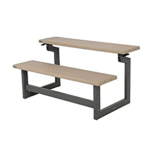 Lifetime Outdoor Indoor Convertible Patio Bench to Picnic Table, Heather Beige