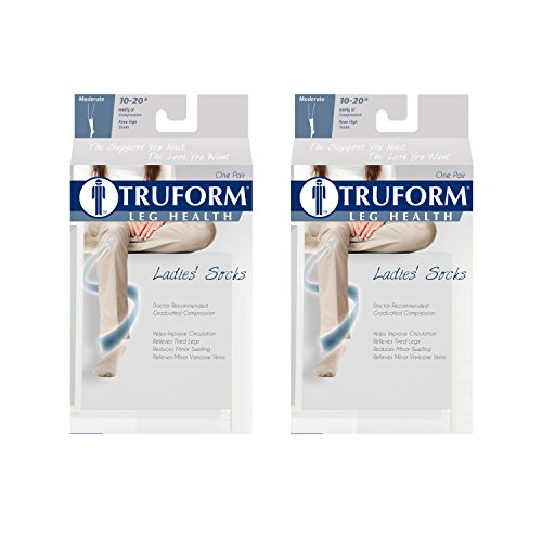 Truform Trouser Socks for Women, 10-20 mmHg Compression, Knee High, Cushion Foot, Black, Large (Pack of 2) ()
