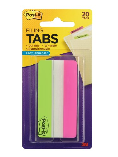 Post-it Tabs, Solid, Lime, Pink, 3 Inches, 10 Tabs Per Color, 20 Tabs Per On-the-Go Dispenser (686-20LP3IN)