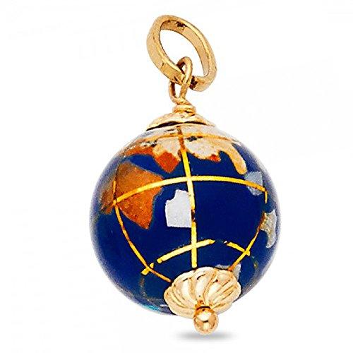 Solid 14k Yellow Gold Globe Pendant Earth Charm Polished Ball Enamel Genuine Fancy Design 13 x13 mm