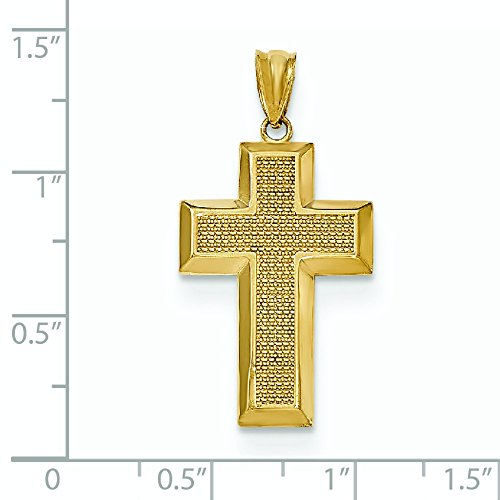 Poli et texturé 14 Carats Pendentif croix-JewelryWeb