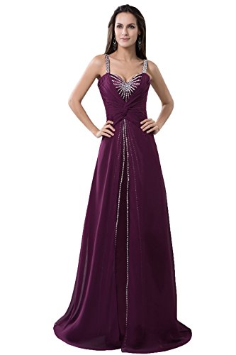 Snowskite Women's Sweetheart Shoulder Staps Beaded Chiffon Wedding Formal Evening Dress Grape 20