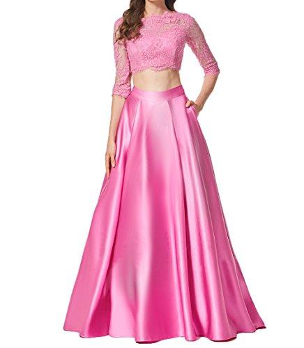 Abendkleid Cocktailkleider Zwei Promkleider Bodenlang Langarm Partykleider Charmant Elegant Damen Teilig Dunkel Spitze Rosa 0Ty1Yqw