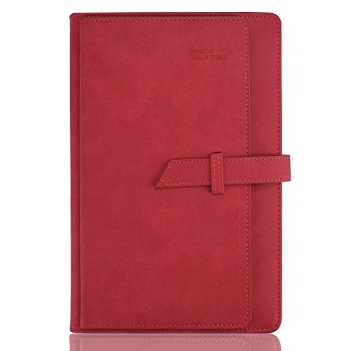 Planner 2018 Daily Calendar Schedule Organizer-Daily Weekly Monthly Yearly Journal-Stylish Line Notebook Hard PU Cover-Card Page,Monthly Mark,Dated,304 Refillable Pages,8.2X5.7Inches (Red) (Refills Weekly Appointment Dated)