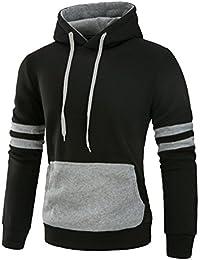 Mens Contrast Color Pullover Fleece Hoodie Cozy Sport Outwear