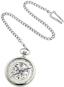 Stuhrling Original Men's 617.PK12 Special Reserve Montres De Poche Avignon Mechanical Skeleton Stainless Steel Pocket Watch