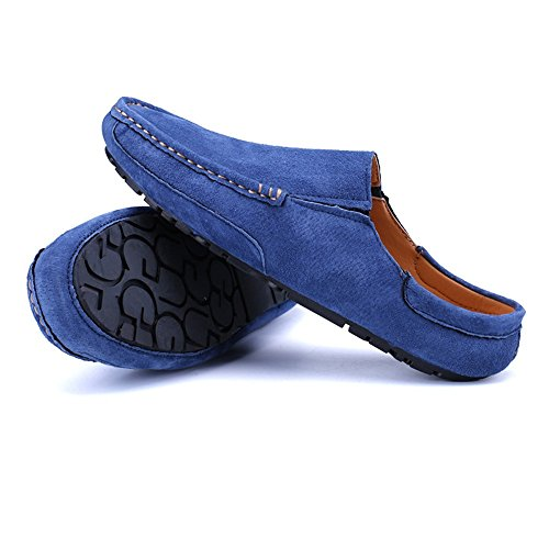 Men's Driving Loafers Genuine Leather Casual Slippers Slip-On Boat Mules Cricket Shoes Blue jTQX3
