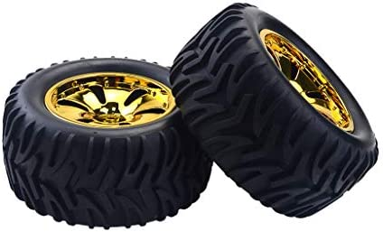 2ピース1/10 RCカーモデルクローラーモンスタートラックタイヤタイヤ&ホイール用サベージフラックス - 金