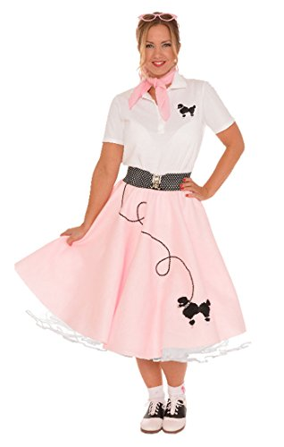 [Hip Hop 50s Shop Adult 7 Piece Poodle Skirt Costume Set Light Pink Medium] (Poodle Skirt Set)
