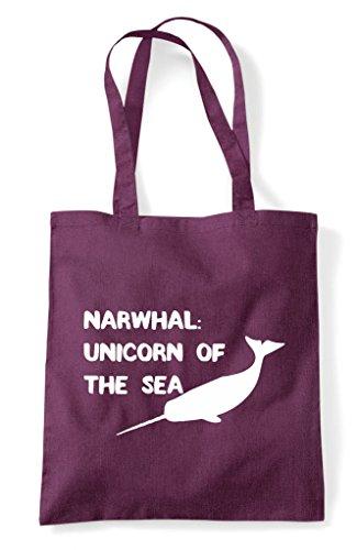 Tote Funny The Unicorn Plum Narwhal Of Shopper Sea Bag HwpC1qA4