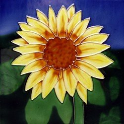(Sunflower Ceramic Decorative Tile Trivet or Wall Hanging 8