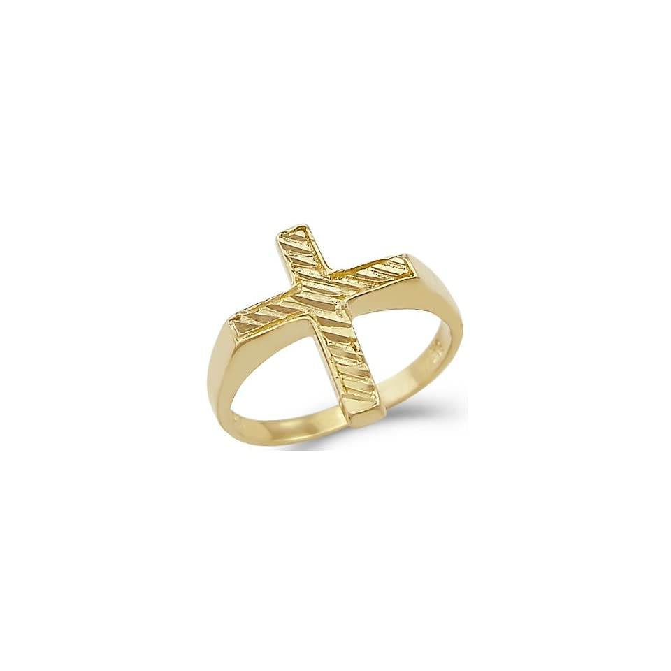 Size  10   New Solid Ladies 14k Yellow Gold Diamond Cut Cross Ring