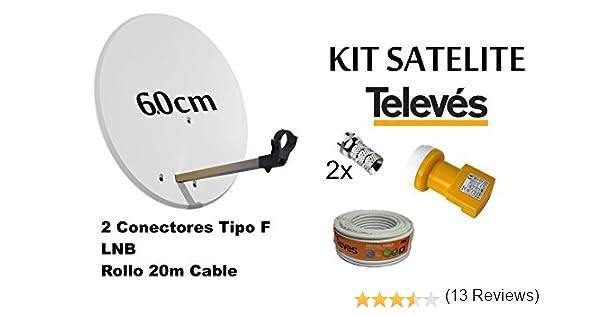 KIT ANTENA PARABOLICA PARA ASTRA TELEVES 60cm + ROLLO DE CABLE 20 mt + CONECTOES Y LNB: Amazon.es: Electrónica