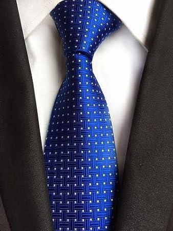 AK Tie Skng Polka Dots Corbatas blancas azules para hombres Traje ...