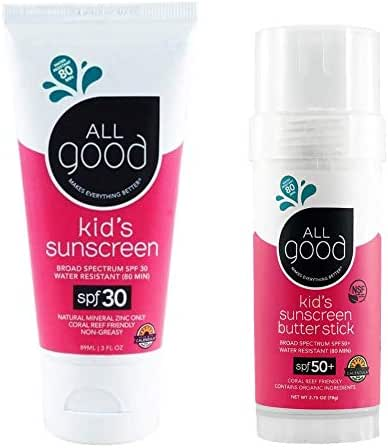 All Good Kids Sunscreen Combo Pack - 50 SPF Kids Sunscreen Butter Stick & 30 SPF Kids Sunscreen Lotion