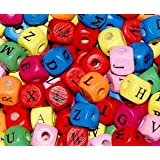 50 Colourful Wooden Random Mixed ALPHABET Cube Beads (10mm) + **FREE!! Elastic Beading Thread** -- GREAT CHRISTMAS STOCKING FILLER!! -- Children's beads