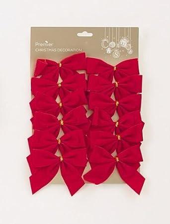 Red Velvet Christmas Decoration Bows (10cm) - 12 pack: Amazon.co ...