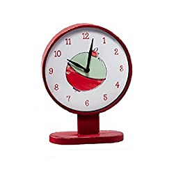 Midwest-CBK Fishing Bobber Table Top Desk Clock Analog Vintage Metal Distressed Aged Look Red White 10 by 8