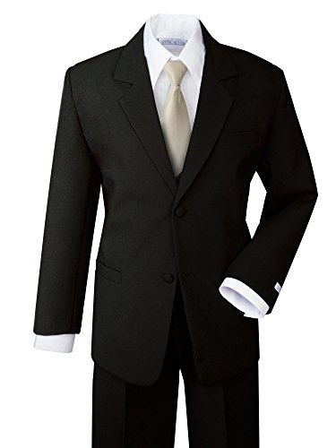 Spring Notion Boys' Formal Dress Suit Set 5 Black Suit Champagne Tie
