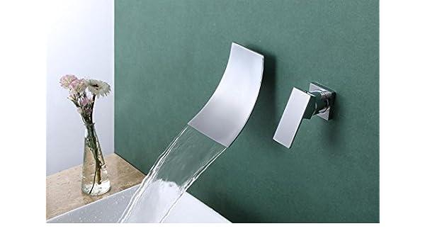 SBWYLT-Fractura cascada grifo caliente y fría pared monomando agujero doble cuenca lavado lavabo grifo cartucho de cerámica griferías de lavabo: Amazon.es: Hogar