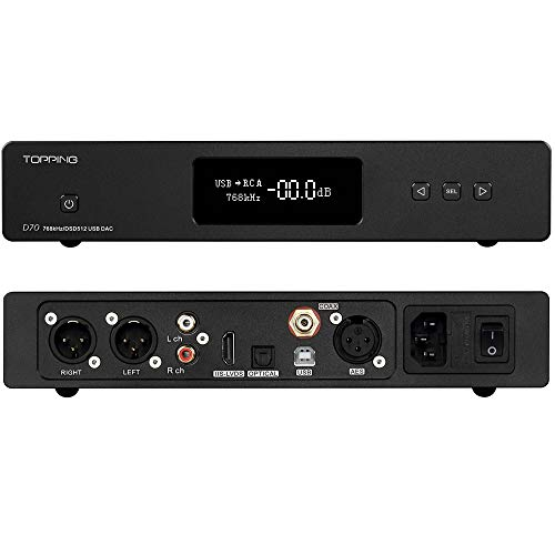 (Topping D70 DAC AK44972 XMOS XU208 USB DSD512 Native 32Bit/768kHz Balance XLR Decoder with Remote Control (Black) )