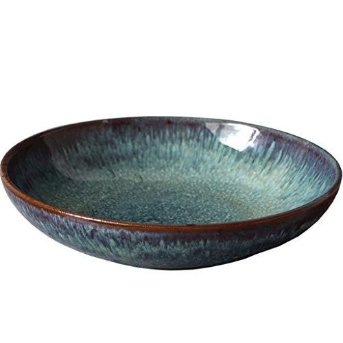 XXJ-Bowls 8 Inches Japanese Ceramic Fruit Plates Dark Green Freckles Salad Bowl Ramen Irregular Soup Bowl Creative Dessert Kitchen Furniture Decoration