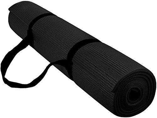 Reehut 1/4-Inch High Density - Exercise Yoga Mat with Carrying Strap for Fitness & Workout - Black