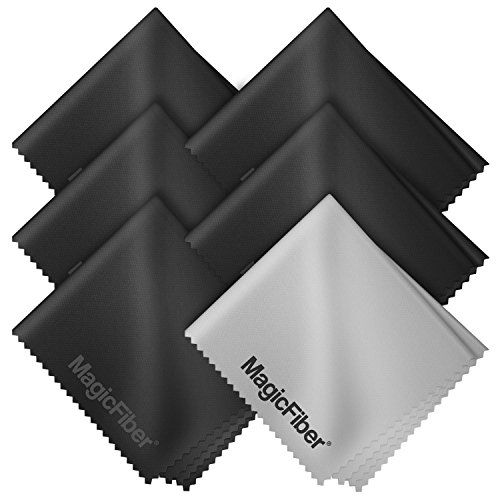 Lens Cleaner ((6 Pack) MagicFiber Microfiber Cleaning Cloths - For All LCD Screens, Tablets, Lenses, and Other Delicate Surfaces (5 Black and 1 Grey)