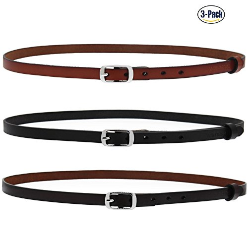 Set of 3 Women's Genuine Cowhide Leather Stylish Thin Dress Belt Fashion Vintage Casual Skinny Belts for Jeans Shorts Pants Summer for Women With Alloy Pin Buckle By ANDY GRADE - Leather Belt 0.75
