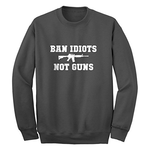 Indica Plateau Crew Ban Idiots Not Guns X-Large Charcoal Grey Sweatshirt