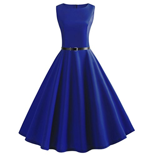 TOPUNDER Women Vintage Sleeveless Dress O Neck Evening Vintage Gown Party Prom Swing