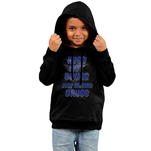 Price comparison product image 2016 HUGS NOT DRUGS JUST KIDDING DRUGS Hoodie Design Black Cool Hoodies For Your Kid