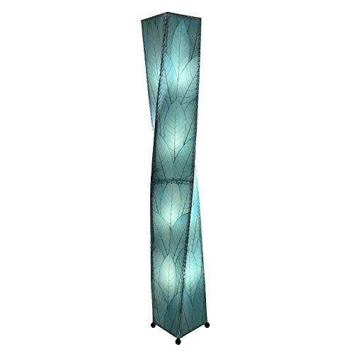 Eangee Home Design Fossilized Sea Blue Color Cocoa Leaf Twist X-Large Floor Lamp