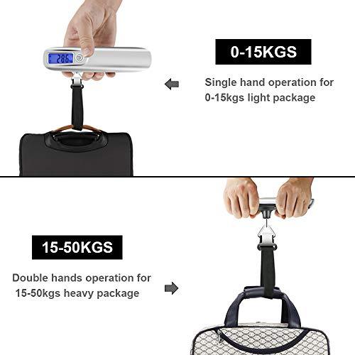 Báscula Digital para Equipaje, Weeygo Báscula Electrónica Portátil para Maleta 110 lb/50 kg con Regla de Cinta de Medición - LCD Balanza Báscula con Función ...