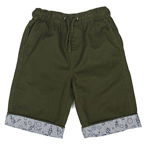 Bienzoe Boy's Cotton Twill Elastic Waist Shorts Green Size 4