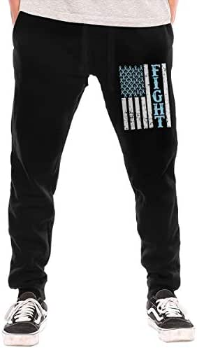 BibiQQgait Men's Jogger Sweatpants Prostate Cancer Awareness Flag Elastic Waist Lounge Pants