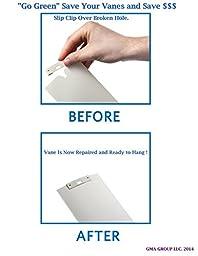 50 Pack Vertical Blind Vane Saver ~ White Curved Repair Clips ~ Fixes Broken