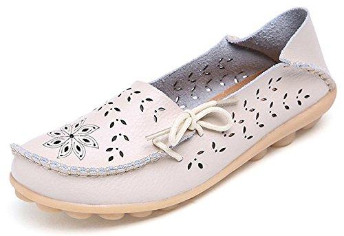 Chaussures Bateau Mocassins En Cuir Des Femmes Eagsouni Lacées Occasionnels Mocassins De Conduite # 3beige