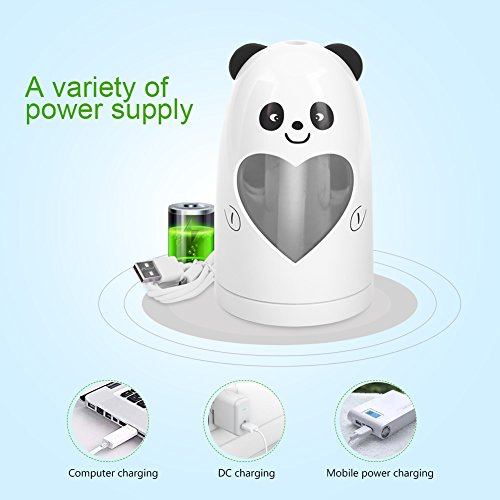 Mist Humidifier Ultrasonic USB Portable Air Humidifiers Purifier for Cars Office Desk Home Babies kids Bedroom 180ML Mini Desktop Cup Humidifier(Panda) by YosooXX (Image #3)