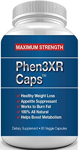 PHEN 3XR CAPS - Appetite Suppressant for Weight Loss - Diet Pills for Women and Men - Thermogenic Fat Burner - Great for Keto Diets (Best Prescription Appetite Suppressant)