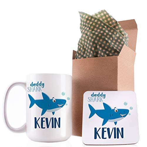 Personalized Birthday Gifts Shark Family Coffee Mug with Your Name - 11oz & 15oz Large Cup with Match - Birthday Gifts, Christmas Gifts, Gift for Dad Grandpa Dad in Law - Daddy Shark Doo Doo Doo