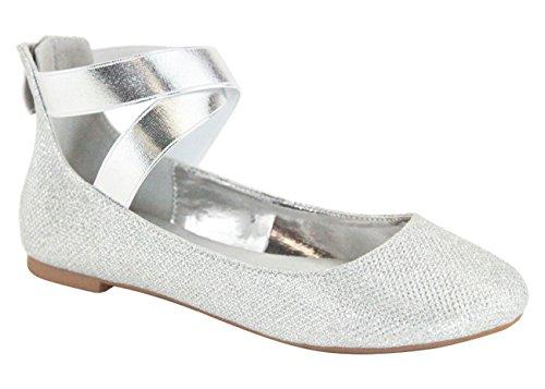 Flats Crossing Anna Ballerina 20 Silver Elastic Classic Mesh Women's Straps Dana TXTBr0p